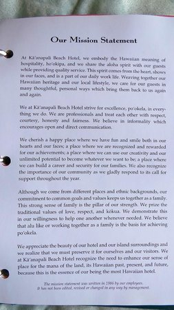 Kaanapali Beach Hotel: Mission Statement