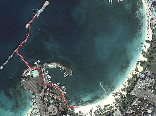 Ocho Rios Beach : Sattelite view, with path highlighted