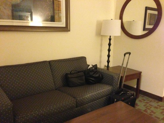 Comfort Suites: New couch in office connected to bedroom