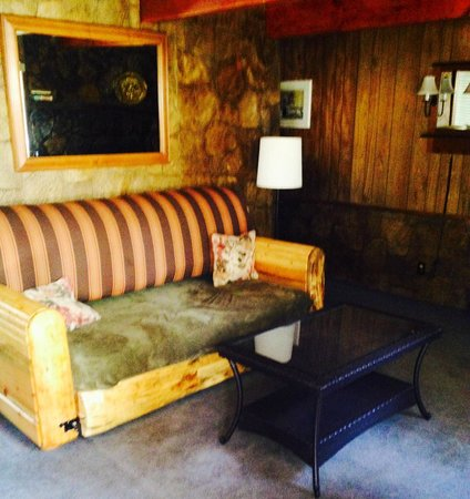 Golden Bear Cottages Resort : Downstairs couch that doubles as a slide out king size bed.