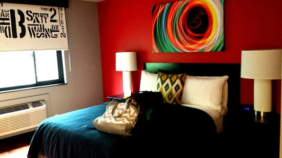 Hotel Five - A Piece of Pineapple Hospitality: My comfy bed for the evening. (Love the colors & decor).
