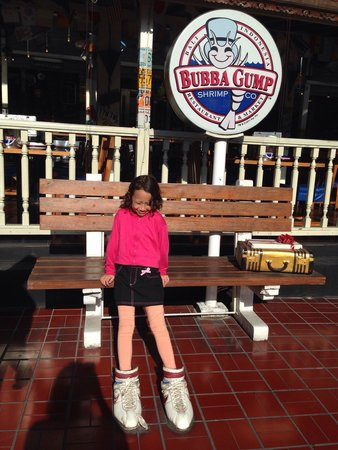Bubba Gump Shrimp: In front of the restaurant with the fun big shoes