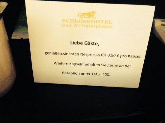 Schlosshotel Bad Wilhelmshöhe Conference & Spa: Schade eigentlich, hatte ich nicht erwartet :(