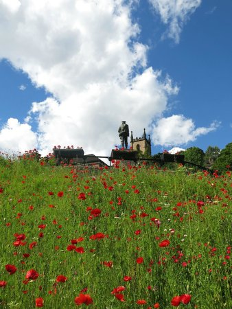 Ironbridge Gorge Museums: Ironbridge Gorge- Carpet of Red Poppies Leading To WW1 Soldier- Cenotaph- Ph Courtesy of Paul Re