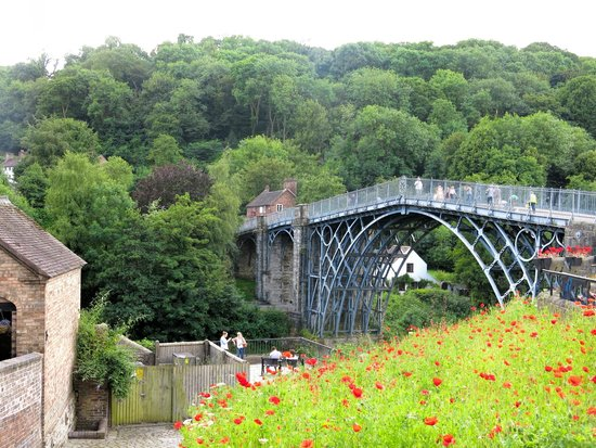 Ironbridge Gorge Museums: Red Poppies Leads to Iron Bridge- Photo Courtesy Paul Rees- July 2014