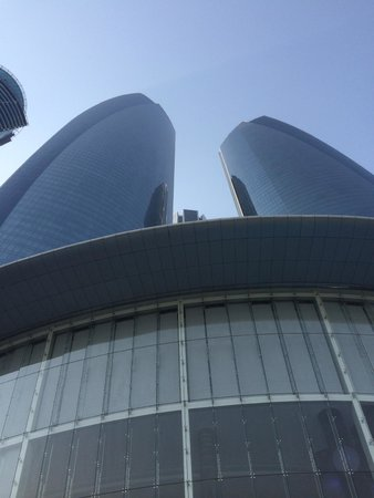 Jumeirah at Etihad Towers: View up from the pool @ Jumeirah Etihad Towers