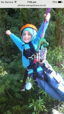 Rotorua Canopy Tours: Superkid pose for a bit of fun at the end :)