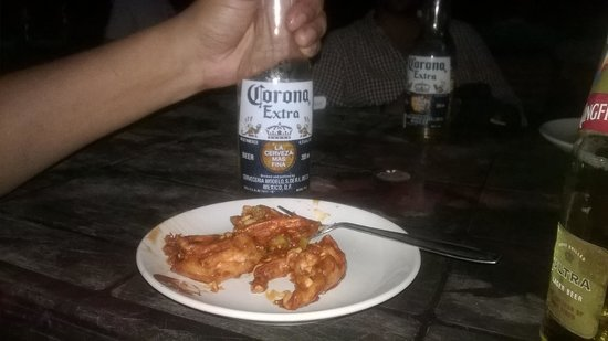Baga Beach: Masala Shrimps with Beer