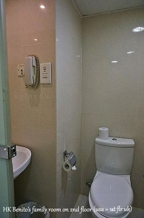 Hotel Benito: right…toilet w/ wash basin & frosted glass door