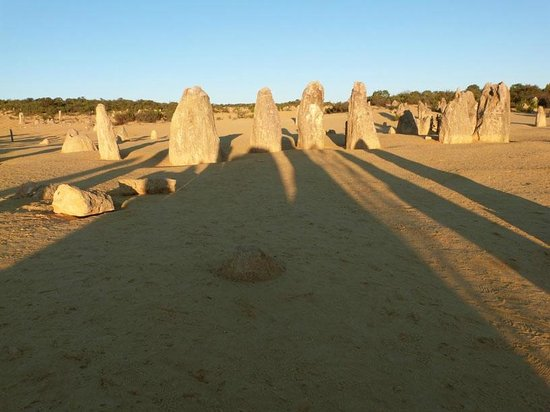 The Pinnacles: The setting sun casts long shadows