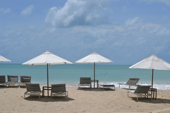 The Sarojin : umbrellas and loungers on the beach