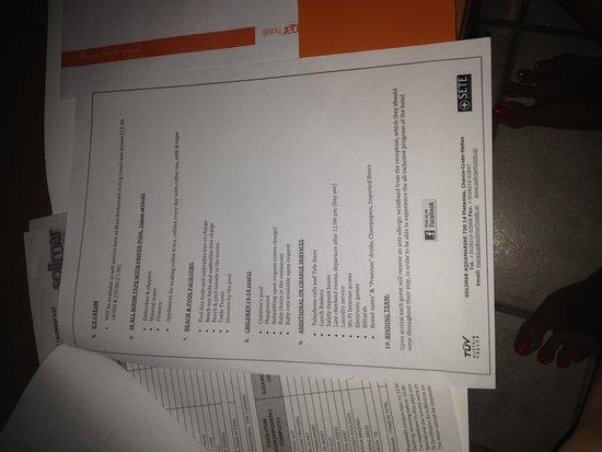 Solimar Aquamarine Hotel: Information booklet in room