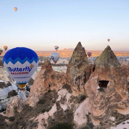 Butterfly Balloons: Photo taken from another Butterfly Balloon over the fairy chimneys.