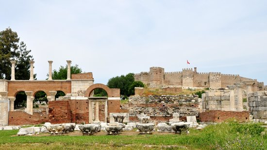 The Basilica of Saint John: The ruins with the fort in the distance