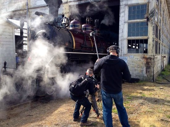 Skunk Train: PBS crew shooting steam engine as it is prepped for run