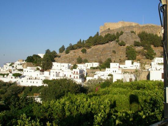 Eleni's Studios: View across Lindos