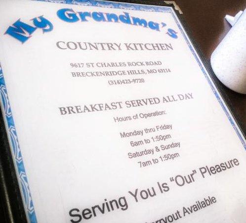 My Grandma S Country Kitchen Menu Hours