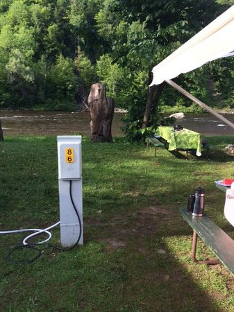 Herkimer KOA Campground: You can see how close the next site is to our awning.