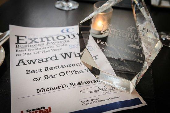 Michael's Restaurant: Exmouth Business Awards 2014 Restaurant Winners