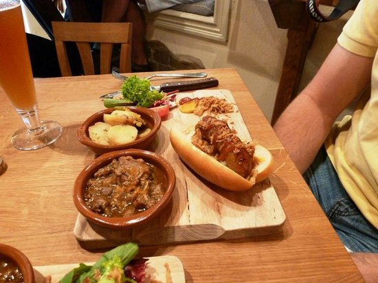 The Hairy Pig Deli: Chirizo, ox tail stew, and roasted potatoes