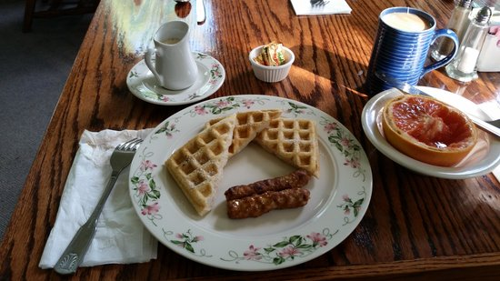 The Waitsfield Inn: Course 2 Blueberry Waffles, Sausage with warmed Maple  Syrup