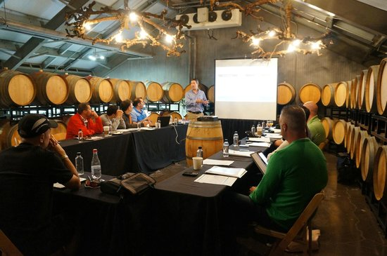 Alpha Omega Winery: Barrel Room - where we had most of our business sessions