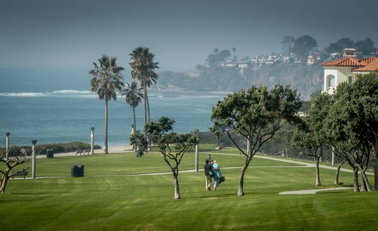 Dana Point, Californië: View of Salt Creek Beach from the Grassy Lawn
