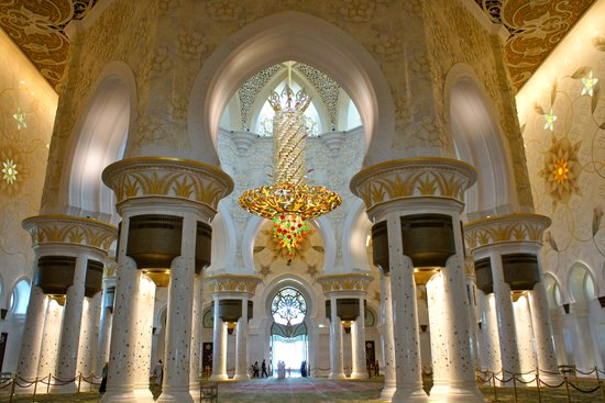 Mezquita Sheikh Zayed: inside from the main prayer hall