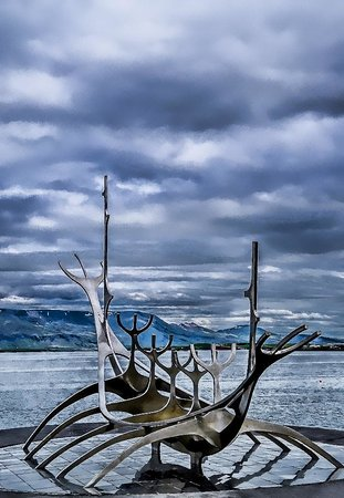 Solfar (Sun Voyager) Sculpture : We come from the land of the ice and snow, from the midnight sun where the hot springs blow...