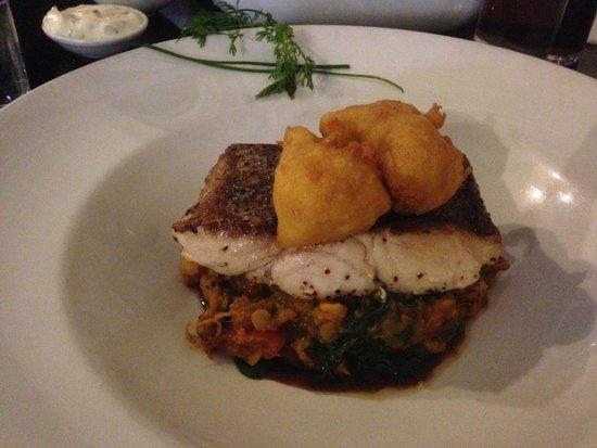 Mourne Seafood Bar: Fillet of Hake with lentil dahl at the bottom