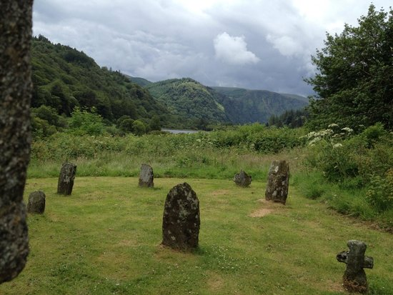 The Wicklow Way : The headstones oustide of St. Mary's church in Glendalough