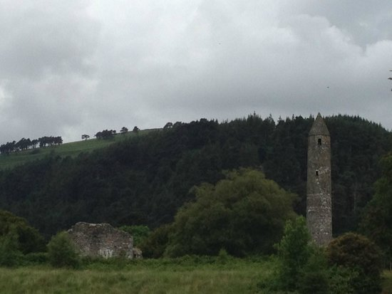 The Wicklow Way: Round tower at evening, Glendalough