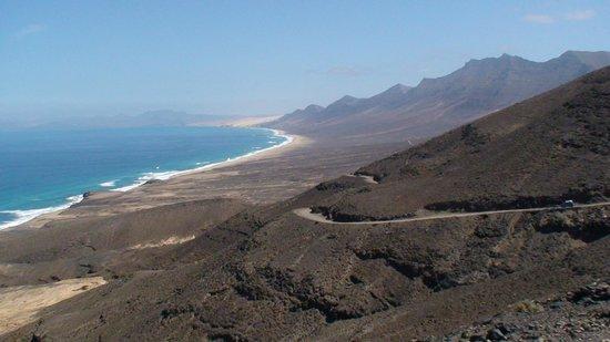 Playa de Cofete: vers Cofete piste et vue sur plage de Cofete