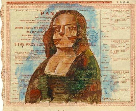 Weil Art Gallery: Mona Lisa de Madera pintada en un bono del Canal de Panamá por Hugo Sbernini