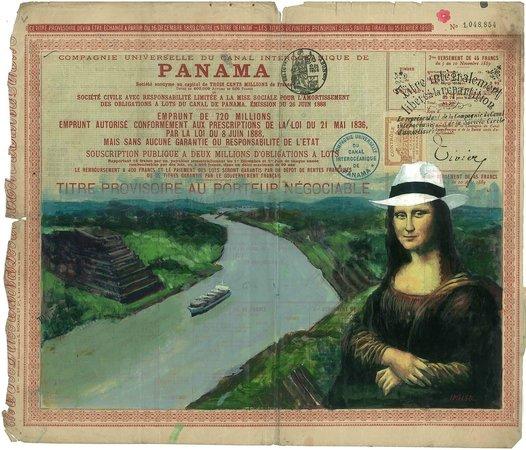Weil Art Gallery: Mona Lisa luciendo un sombrero Panamá Hat pintada sobre un bono del Canal por Idielgo Perez