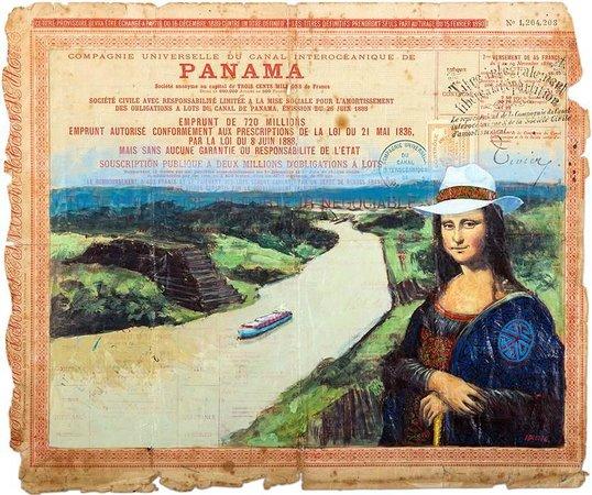 Weil Art Gallery: Mona Lisa con traje de mola cruzando el Canal de Panamá por Idielgo Perez