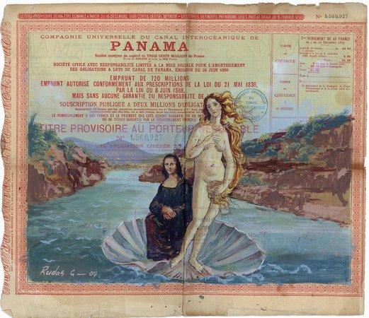 Weil Art Gallery: Mona Lisa con la Venus de Botticelli cruzando el Canal de Panamá por Pascual Rudas