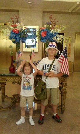 The Mayflower Hotel, Autograph Collection : James and Ansley in the hotel lobby getting ready to go to see the fireworks!!!!