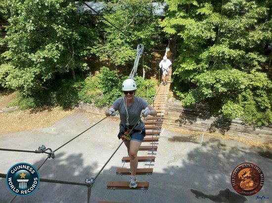 Historic Banning Mills : Bridge to start the zip lining course