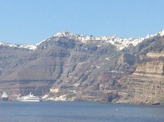 Santorini Volcano: view of Fira from volcano