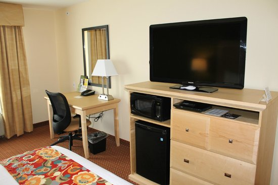 La Quinta Inn & Suites Rochester: TV and DVD player, micro fridge and work desk