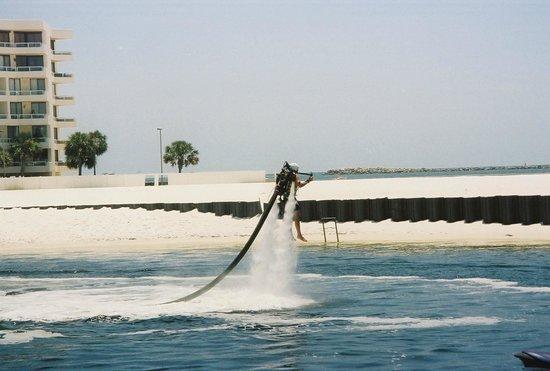 The Islander: Water jet pack in Destin Harbor.