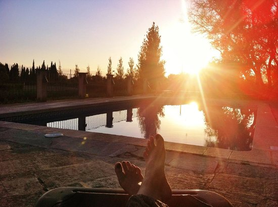 Son Menut Finca : Sonnenuntergang am Pool