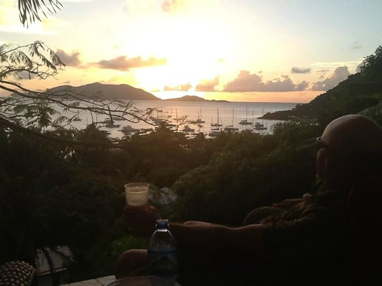 Agape Cottages: Rum Punch and Sunset