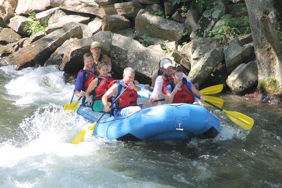 Nantahala Rafting with Adventurous Fast Rivers: At Nantahala Falls! So much fun!