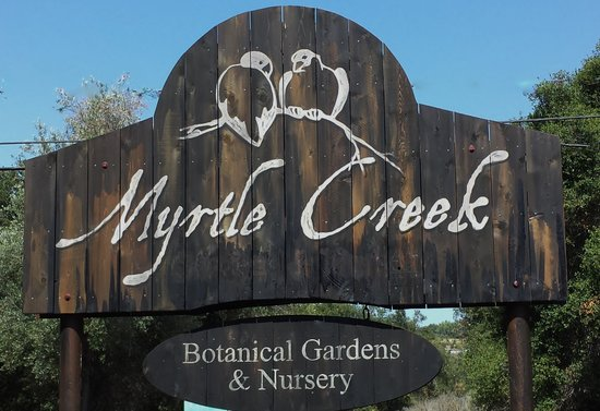 Road sign picture of myrtle creek botanical gardens Myrtle creek botanical gardens nursery