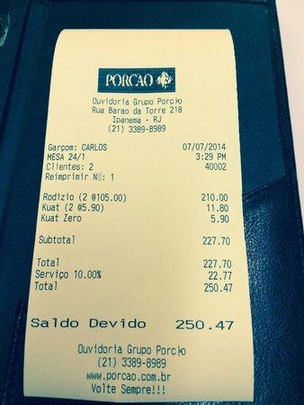 Porcão Ipanema : La cuenta para dos personas.