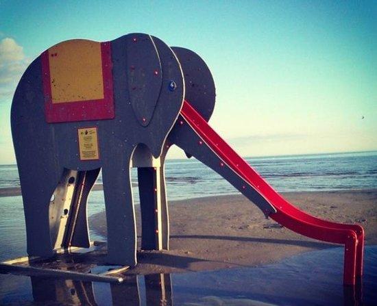 Parnu Beach Promenade: слон на пляже