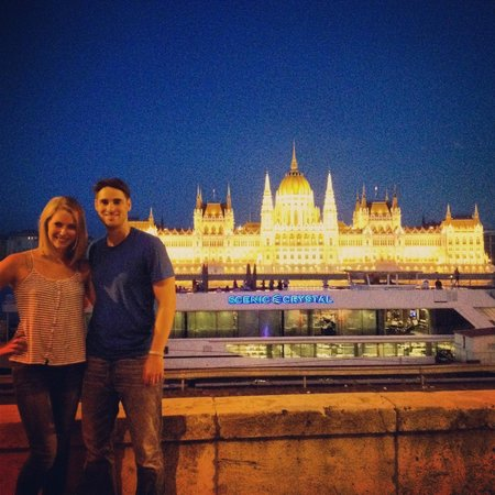 BudaBike Tours: My husband and me across the river from the parliament building
