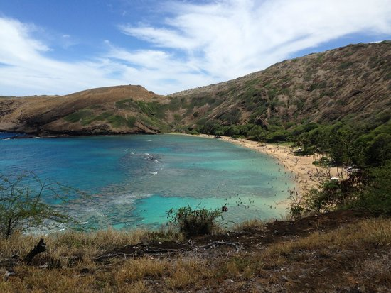 Hanauma Bay Nature Preserve: Reefs on the sides and sandy beach in the middle